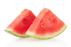 Two watermelon slices on white, clipping path Royalty Free Stock Image