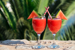 Two watermelon smoothie on summer holidays by the sea. Stock Photos