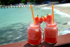 Two Watermelon smoothies in glass bottle Stock Images