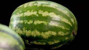 Two watermelons at black background. 4k. UHD. Two Big green striped fresh tasty wet watermelon. Slider camera close-up shot at black bg isolated. Soft light and stock video