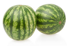 Two watermelons isolated, clipping path Royalty Free Stock Photo