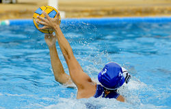 Two waterpolo players. In action during a match Stock Photo