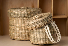 Two wattled baskets Royalty Free Stock Photo