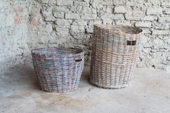 Two wattled baskets of broze century Royalty Free Stock Photography