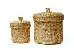 Two wattled baskets isolated on white Royalty Free Stock Photography