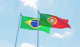 Free Two Waving Flags Stock Image - 98375401