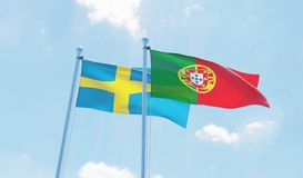 Free Two Waving Flags Royalty Free Stock Image - 98375536