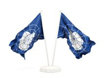 Two waving flags of antarctica. Isolated on white. 3D illustration stock illustration