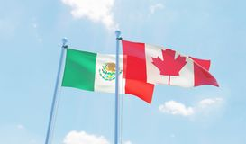 Two waving flags Royalty Free Stock Photos