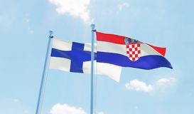 Two waving flags. Croatia and Finland, two flags waving against blue sky. 3d image Stock Photo