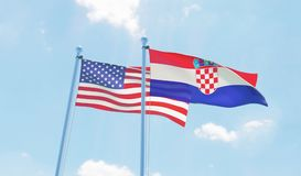 Two waving flags. Croatia and USA, two flags waving against blue sky. 3d image Stock Image