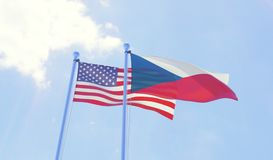 Two waving flags Royalty Free Stock Images