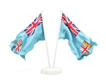 Two waving flags of fiji. Isolated on white. 3D illustration Royalty Free Stock Images