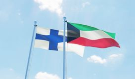 Two waving flags. Kuwait and Finland, two flags waving against blue sky. 3d image Royalty Free Stock Photography
