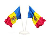 Two waving flags of moldova Royalty Free Stock Image