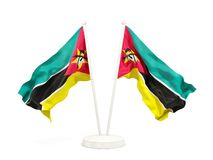 Two waving flags of mozambique. Isolated on white. 3D illustration Stock Photo