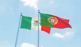 Two waving flags Stock Photo