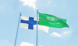 Two waving flags. Saudi Arabia and Finland, two flags waving against blue sky. 3d image Royalty Free Stock Photo