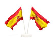 Two waving flags of spain Stock Images