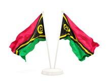 Two waving flags of vanuatu Royalty Free Stock Photos