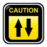 Two way caution sign Royalty Free Stock Image