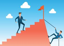 Two way compare with shortcut way but difficult and easy way but. Long way to go to success and goal ,cartoon version,vector illustration vector illustration