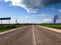 Two way country highway Royalty Free Stock Photo