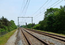 Two way railroad track. Dutch Two way railroad track Stock Photos