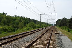 Two way railroad track. Dutch Two way railroad track Stock Photo