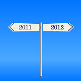 Two-way road sign with new 2012 year. Two-way road sign with new 2012 and past 2011 years. Illustration Stock Photos
