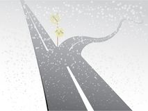A two way road with straight path and curvy path with directions in snowy winter season for comparison. Vector illustration royalty free illustration