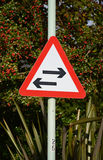Two-Way Road Traffic Sign. Two Way Traffic Sign Red Triangle, England Royalty Free Stock Photo