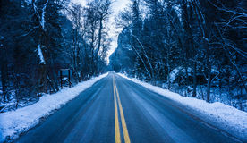 Two Way Road With Trees and Snow Royalty Free Stock Image