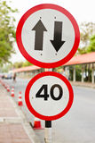 Two way sign with speed limit Royalty Free Stock Photo