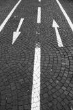 Two-way traffic. Markings on a bicycle lane, black and white image Stock Photography