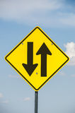 Two-way Traffic Ahead Sign Stock Photos
