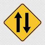 Two way traffic ahead sign on transparent background royalty free illustration