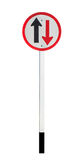 Two way traffic sign on white background Royalty Free Stock Image
