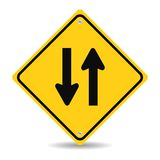 Two way traffic sign on white Stock Image