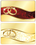Two Wedding banner with golden rings. Stock Images