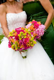 Two wedding bouquets. Two wedding bridal bouquets in red, pink, green, and orange Stock Photography