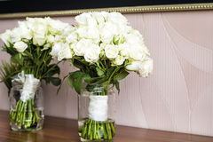 Two Wedding Bouquets with white roses Stock Photos