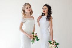 Two wedding bride with bouquet wedding Stock Photography