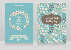 Two wedding cards in folkloric style Royalty Free Stock Photos