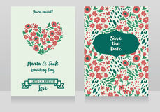 Two wedding cards in folkloric style Stock Photography
