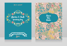 Two wedding cards in folkloric style Stock Photos