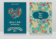Two wedding cards in folkloric style Royalty Free Stock Images