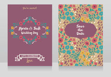 Two wedding cards in folkloric style Stock Image