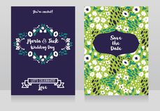 Two wedding cards in folkloric style Royalty Free Stock Photo