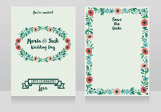 Two wedding cards in folkloric style Royalty Free Stock Photography